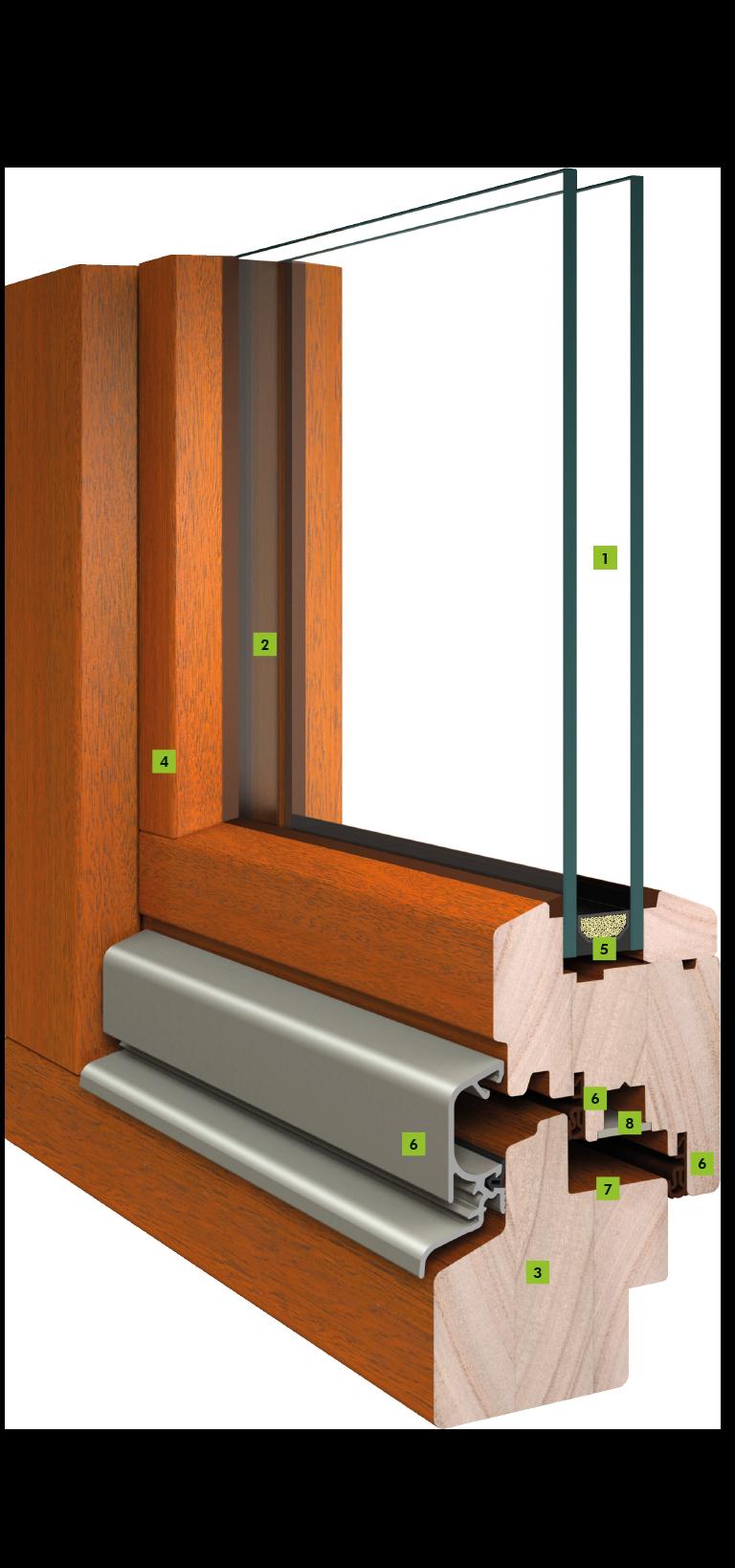 Holz Fenster mit 68 mm Bautiefe