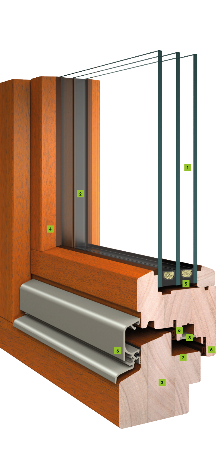 Holz Fenster mit 80 mm Bautiefe