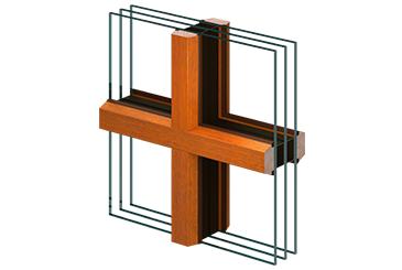 Aufgeklebte Trapezfalzsprosse (24 mm) aussen und innen mit zwei innenliegenden Abstandhaltern
